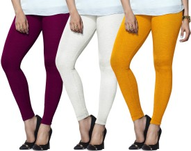 Lux Lyra Women's Purple, White, Yellow Leggings Pack Of 3