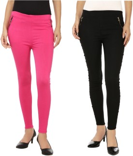 EMBLAZON Women's Pink, Black Jeggings Pack Of 2