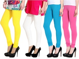 Ngt Women's Yellow, White, Light Blue, Pink Leggings Pack Of 4