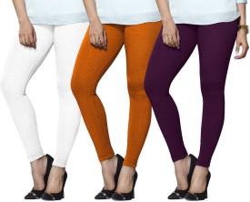 Lux Lyra Women's White, Orange, Purple Leggings Pack Of 3