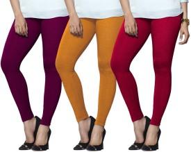 Lux Lyra Women's Purple, Yellow, Pink Leggings Pack Of 3