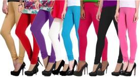 NGT Women's Beige, Red, Purple, White, Light Blue, Pink, Pink, Black Leggings Pack Of 8