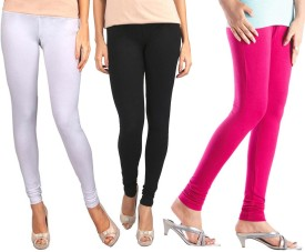 Sampoorna Collection Women's Black, Pink, White Leggings Pack Of 3