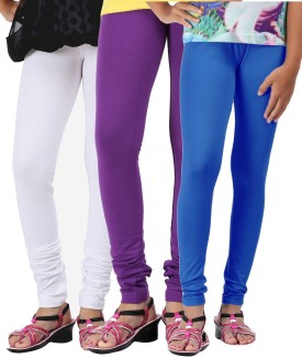 Greenwich Baby Girl's White, Purple, Blue Leggings Pack Of 3