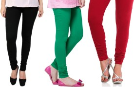 LIENZ Women's Black, Green, Red Leggings Pack Of 3