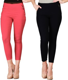 SYS Women's Black, Orange Jeggings Pack Of 2