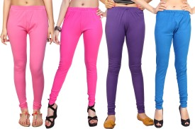 Comix Women's Pink, Pink, Purple, Light Blue Leggings Pack Of 4