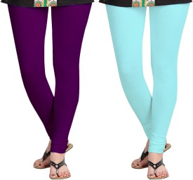 Aannie Women's Purple, Light Blue Leggings Pack Of 2