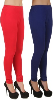 Stylishbae Women's Red, Blue Leggings Pack Of 2