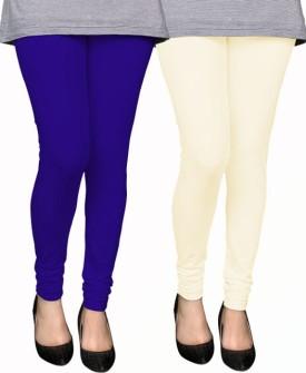 PAMO Women's Blue, White Leggings Pack Of 2