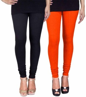 Fashion Flow+ Women's Black, Orange Leggings Pack Of 2