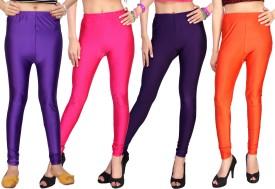 Comix Women's Purple, Pink, Purple, Orange Leggings Pack Of 4