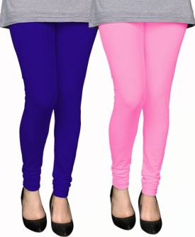 PAMO Women's Blue, Pink Leggings Pack Of 2