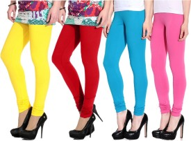 Ngt Women's Yellow, Red, Light Blue, Pink Leggings Pack Of 4