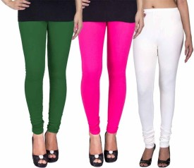 Fashion Flow+ Women's Dark Green, Pink, White Leggings Pack Of 3
