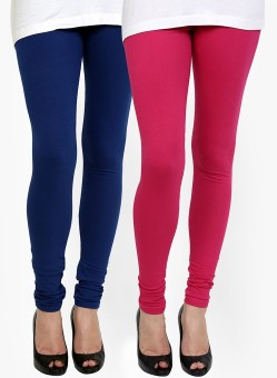 Addline Women's Blue, Pink Leggings Pack Of 2