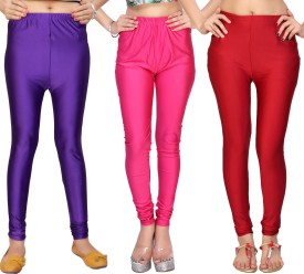 Comix Women's Purple, Pink, Red Leggings Pack Of 3