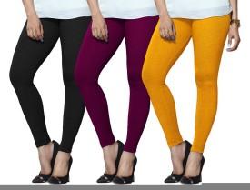Lux Lyra Women's Black, Purple, Yellow Leggings Pack Of 3