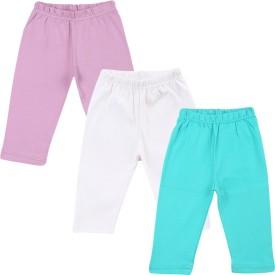 Color Fly Baby Girl's Purple, Green, White Leggings Pack Of 3
