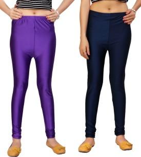 Comix Women's Purple, Dark Blue Leggings Pack Of 2