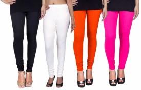 Fashion Flow+ Women's Black, White, Orange, Pink Leggings Pack Of 4
