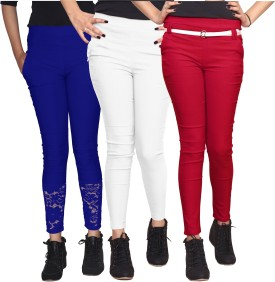 Xarans Women's Blue, White, Red Jeggings Pack Of 3