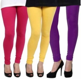 Xarans Women's Pink, Yellow, Purple Leggings Pack Of 3
