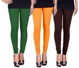 Fashion Flow+ Women's Dark Green, Yellow, Brown Leggings Pack Of 3