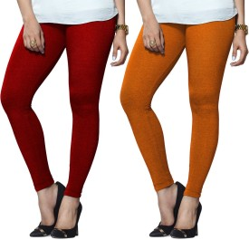 Lux Lyra Women's Red, Orange Leggings Pack Of 2
