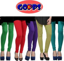 Gopps Women's Green, Red, Purple, Green, Green Leggings Pack Of 5