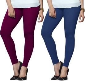 Lux Lyra Women's Purple, Light Blue Leggings Pack Of 2