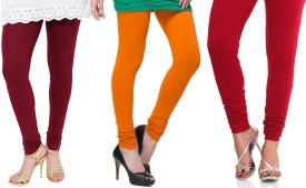 LIENZ Women's Maroon, Orange, Red Leggings Pack Of 3