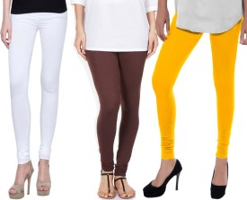 Sampoorna Collection Women's White, Brown, Yellow Leggings Pack Of 3