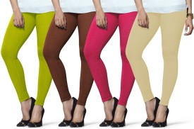 Lux Lyra Women's Light Green, Brown, Pink, Beige Leggings Pack Of 4