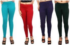 Comix Women's Green, Red, Purple, Dark Green Leggings Pack Of 4