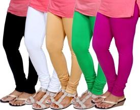 IndiStar Women's Black, White, Beige, Green, Purple Leggings Pack Of 5