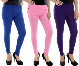 Paulzi Women's Blue, Pink, Purple Jeggings Pack Of 3