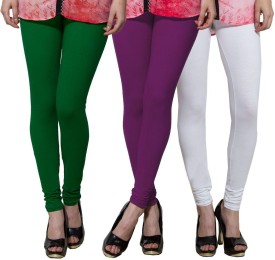 Both11 Women's Dark Green, Purple, White Leggings Pack Of 3