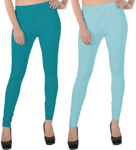 X-Cross Women's Light Blue, Pink Leggings Pack Of 2