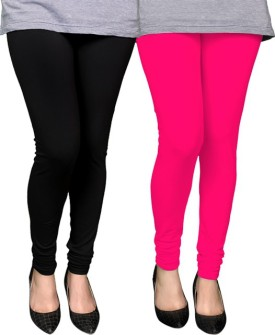 PAMO Women's Black, Pink Leggings Pack Of 2