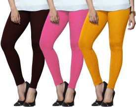 Lux Lyra Women's Maroon, Pink, Yellow Leggings Pack Of 3