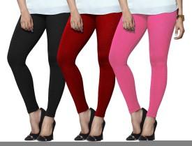 Lux Lyra Women's Black, Red, Pink Leggings Pack Of 3