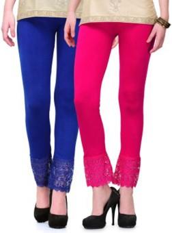 Stylobby Women's Blue, Pink Leggings Pack Of 2