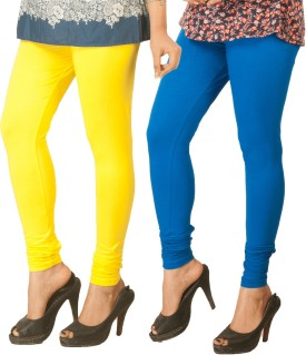 Berries Women's Yellow, Blue Leggings Pack Of 2