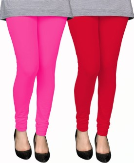 PAMO Women's Pink, Red Leggings Pack Of 2