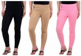 Roma Creation Girl's Black, Beige, Pink Jeggings Pack Of 3