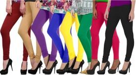 NGT Women's Maroon, Beige, Purple, Blue, Yellow, Green, Pink, Black Leggings Pack Of 8