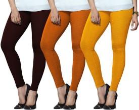 Lux Lyra Women's Maroon, Orange, Yellow Leggings Pack Of 3
