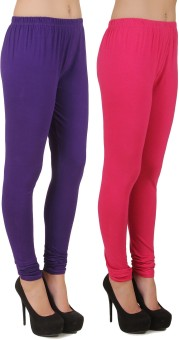 Stylishbae Women's Purple, Pink Leggings Pack Of 2