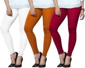 Lux Lyra Women's White, Orange, Pink Leggings Pack Of 3 - LJGEE9BAZ7EYDTW3